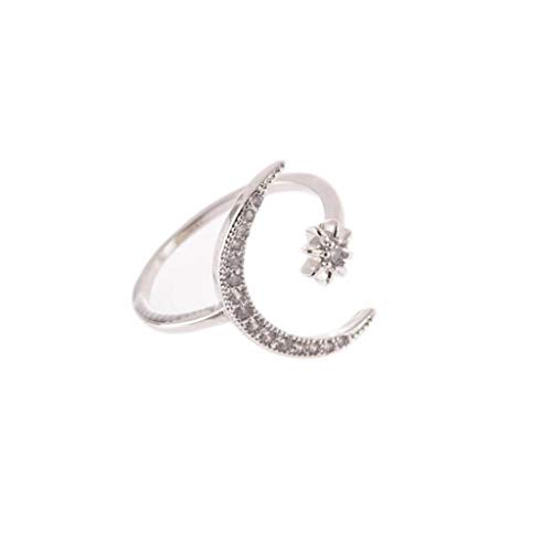 (Beppter Girls Ring Jewelry,Crescent Shape Rhinestone Finger Band Half Moon Sun Star Artificial Diamond Inlay Engagement Ring(Silver,8))