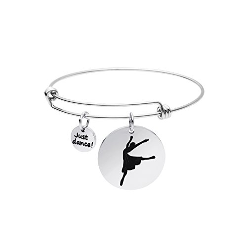 Dance Girls Jewelry Gift Expandable Wire Bangle Bracelet for Women Dancer Gifts Just Dance