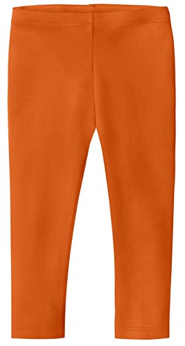 City Threads Little Girls' Cotton Cropped Capri Summer Legging For Play and School SPD For Sensitive Skin Sensory Friendly, Orange, 3T -