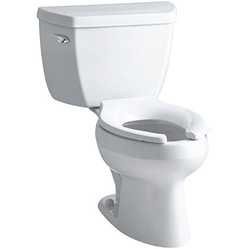 Kohler K-3531-T-0 Wellworth Classic Pressure Lite Elongated 1.0 gpf Toilet with Tank Cover Locks and Left-Hand Trip Lever, Less Seat, White (Lite Pressure Bowl Wellworth Toilet)