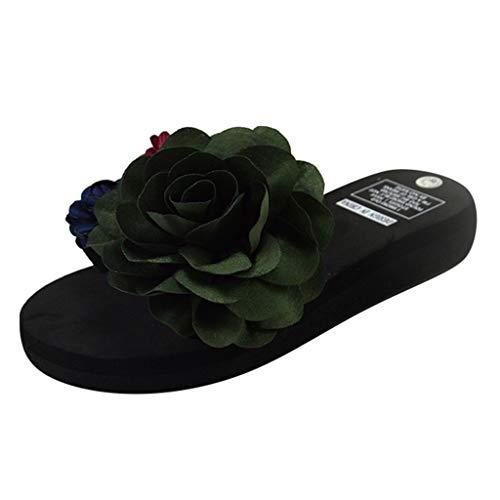 Wedge Slide Sandal,ONLY TOP Women Platform Slides Sandals Summer Flower Slip On Shoes Open Toe Slippers Green