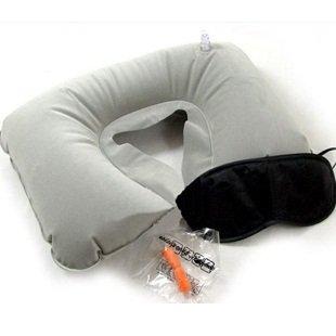 Inflatable Travel Flight Pillow U Neck Rest Cushion Eye Mask Earplugs