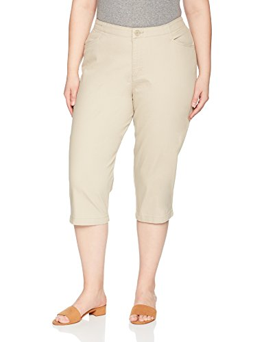 Riders by Lee Indigo Women's Plus Size Comfort Collection L-Pocket Twill Capri, Khaki, 18W AVG (Lee Side Elastic Twill Pants Plus Size)