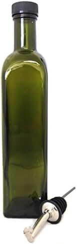 NiceBottles - Olive Oil Dispenser with Stainless Steel Flip Top Pourer, Dark Green, Square, 500ml