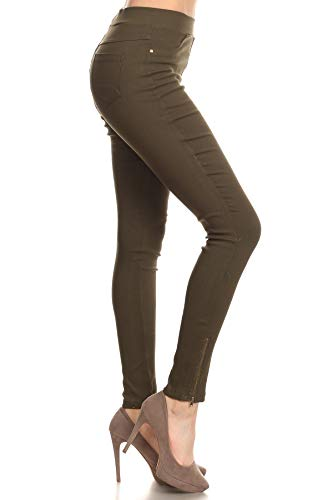 Women's Skinny Strechy Pull-On Ankle Zip Jeggings Olive Small