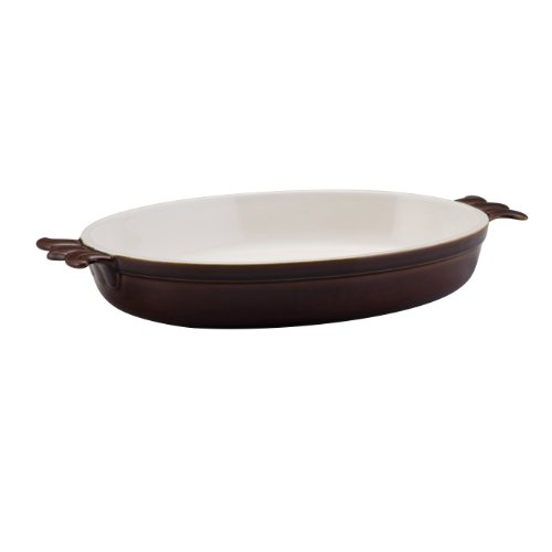 BonJour Stoneware 3-Quart Oval Au Gratin Baker, Chocolate Brown