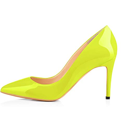 KKEPO& 3.5 Inches 8.5cm Thin High Heel Women's Pumps Shoes Sexy Pointed Toe Wedding Shoes Party Pumps Patent Leather Shoes H170124 13