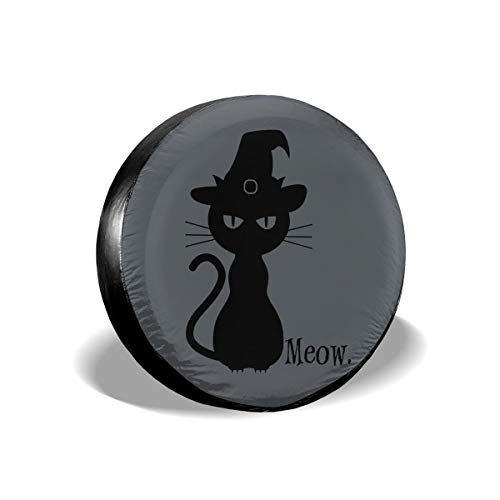 Ganwinsh Tire Cover Black Cat Halloween Spare Wheel Cover Universal Fit for Jeep,Trailer, RV, SUV and Many Vehicle 15 Inch