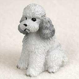 Gray Tiny Ones Dog Figurines - Poodle Sport Cut Miniature Dog Figurine - Gray