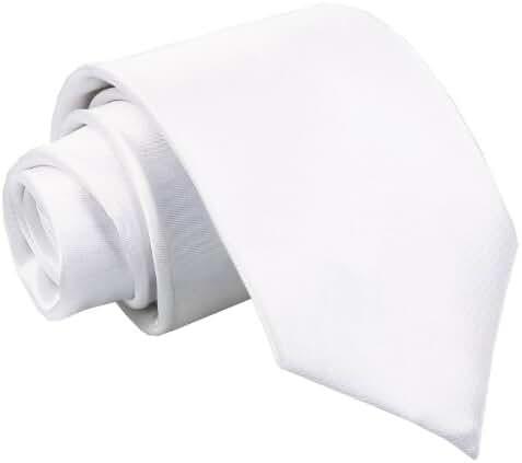 DQT Premium Satin Plain Solid Men's Wedding Classic Standard 9cm Extra Long Tie – Various Colours