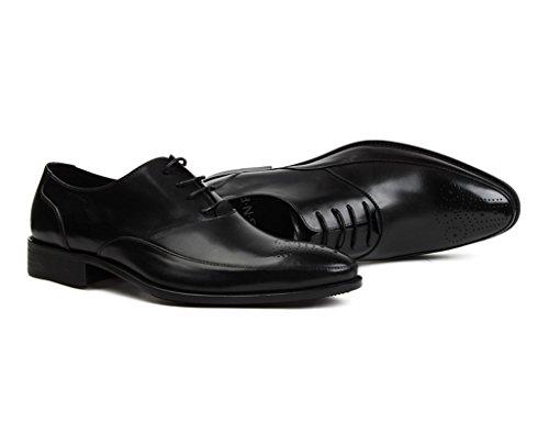British Nero Hwf Rosso A Business colore Punta Singola Style uk8 Scarpe Dimensioni Wear Vino Uomo Pizzo Da In Formal Eu43 Pelle wXCRwq