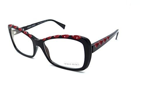 Alain Mikli Rx Eyeglasses Frames A03015 B0BC 55x17 Black / Red Made in France by Alain Mikli