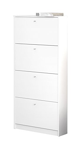 Tvilum 4106849 Bright 4 Drawer Shoe Cabinet, White (Drawer Shoe Cabinet)