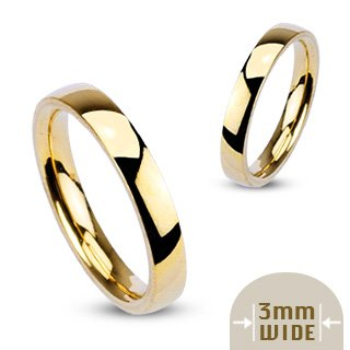 Noureda 3MM Stainless Steel Yellow Gold Plated High Polished Comfort-Fit Traditional Dome Wedding Ring
