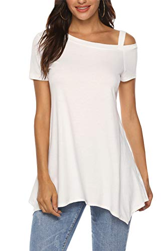 Zattcas Long Tunic Tops for Women Short Sleeve Summer One Off Shoulder Tops Tunic Shirts,White,X-Large