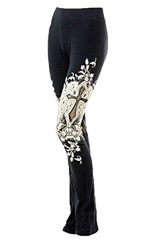 (Los Angles Bus Stop Rhinestone Cross Wings Tattoo Print Fishnet Yoga Pants (X Large, Black) )