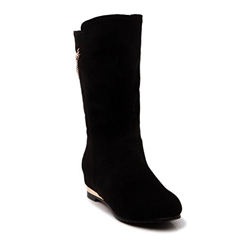 Casual Suede AdeeSu Round Black SXC01928 Wedges Toe Womens Boots Fq4wP