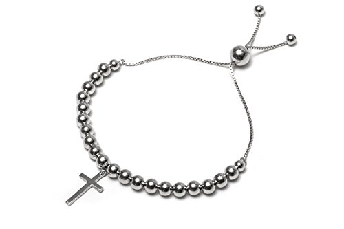.925 Sterling Silver High Polish Ball with Dangling Cross Rosary Bolo Adjustable Bracelet