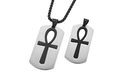Godcow Mens Stainless Steel Pendant Religious Egyptian Ankh Cross Dog Tag VINTAGE Necklace, Chain 22 Inch (Black)