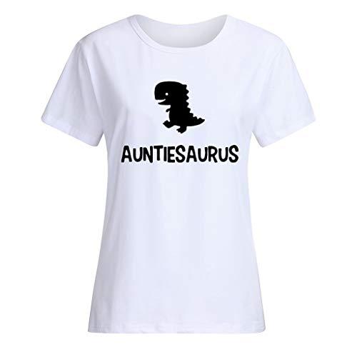 Effulow Ladies Fashion Short Sleeve Cartoon Dinosaur Auntiesaurus Letter Pattern Print Loose Plus Size T-Shirt Tops White