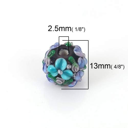 (Lampwork Glass Encased Floral Beads Round Pink Flower Leaves Colorful About 13mm x 13mm, Hole: Approx 2.5mm, 1 PC - 5)