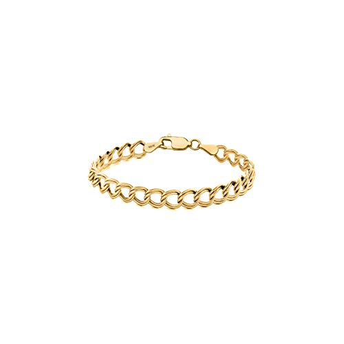 (Orostar 10K Solid Gold 3.5mm Double Link Charm Bracelet, 7