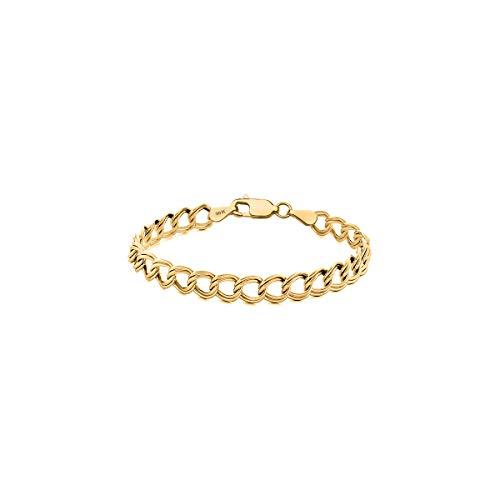 Orostar 10K Solid Gold 3.5mm Double Link Charm Bracelet, 7
