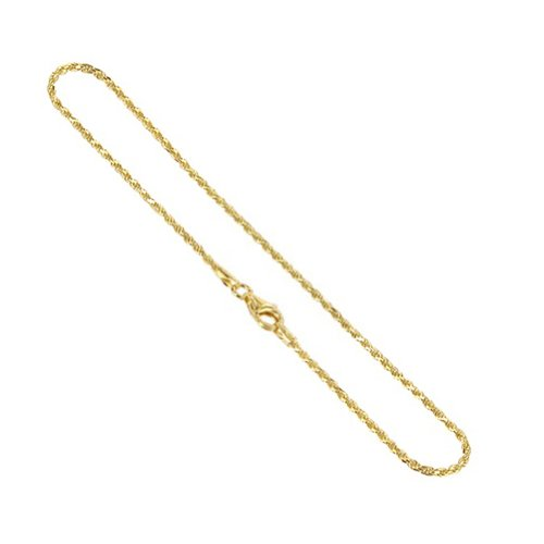Gem Avenue 14k Gold over Sterling Silver Vermeil 1.5mm Rope Chain Ankle Bracelet (9