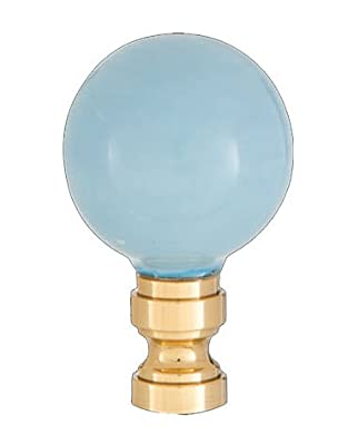 B&P Lamp Smooth Ceramic Design, Light Blue Ball Finial, Solid Brass Brass Base