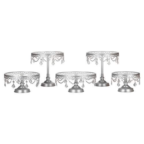 Victoria Silver Cake Stand Set of 5, Round Glass Plate Metal Dessert Cupcake Pedestal Wedding Party Display with Crystals]()