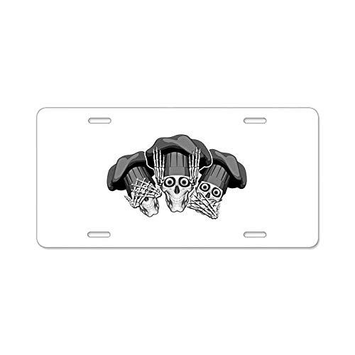 AhuiA-Three Wise Chef Skulls Custom Personalized Aluminum Metal License Plate Cover Front Auto Car Accessories Vanity Tag- 6x12 Inches]()