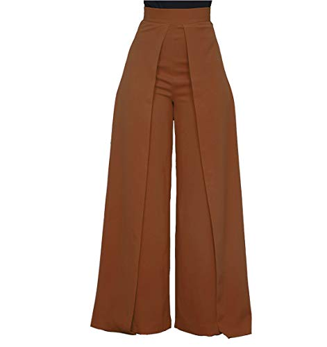 Women's High Waisted Palazzo Pants - Elegant Wide Leg Flare Pants Head Turner Coffee X-Large