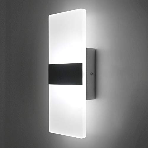 Lightess Up Down Wall Light 12W Modern Wall Sconce Acrylic LED Wall Lamp for Hallway Bedroom Corridor, Cool White, HS521-1