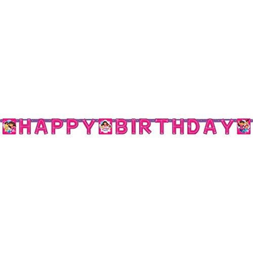 Amscan AMI 121468 Dora and Friends Happy Birthday Banner, 7 1/2' x 5 1/2