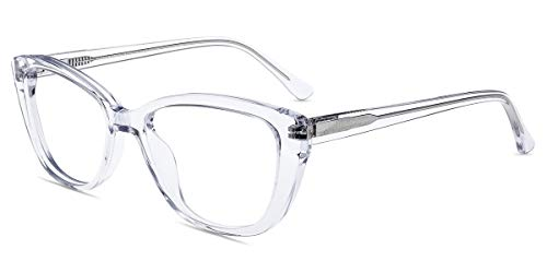 Firmoo Blue Light Blocking Computer Reading Glasses Vintage Cateye Clear Frame for Women for Contact Wearers (Clear, ()