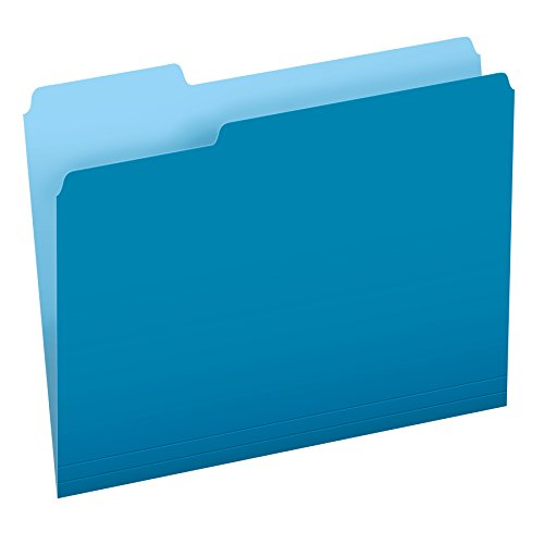 - Pendaflex Two-Tone Color File Folders, Letter Size, Blue, 1/3 Cut, 100 per box (152 1/3 BLU)