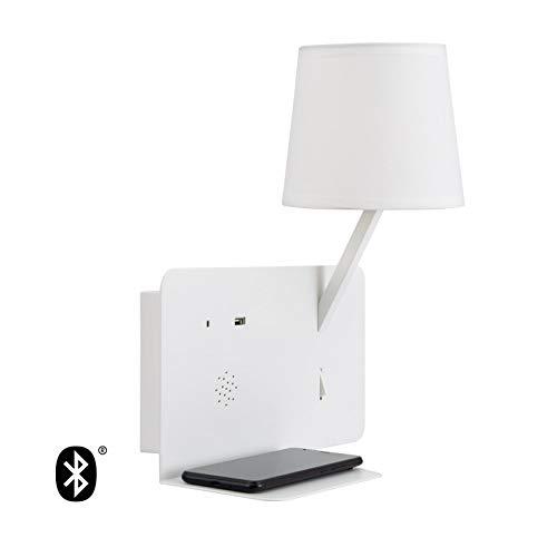 LEDKIA LIGHTING Wandlamp Bohr met Bluetooth luidspreker en USB-speler LED Wit