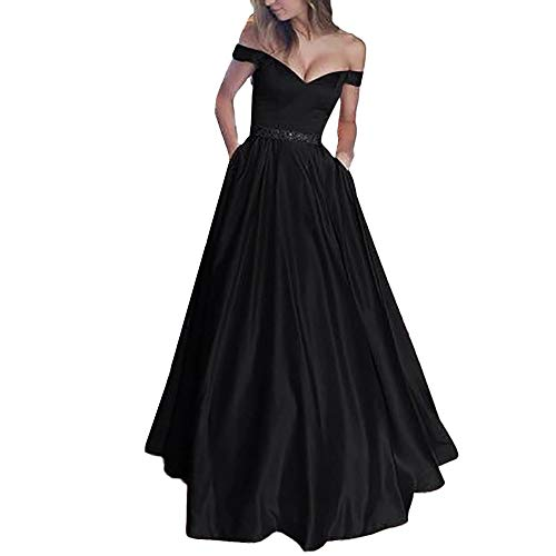 Sherostore ♡ Women's Double V-Neck Off The Shoulder Beaded Satin Evening Prom Dress Long Evening Cocktail Gowns Black