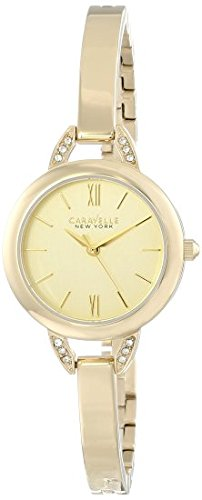 (Caravelle New York Women's 44L129 Crystal-Accented Stainless Steel Watch )