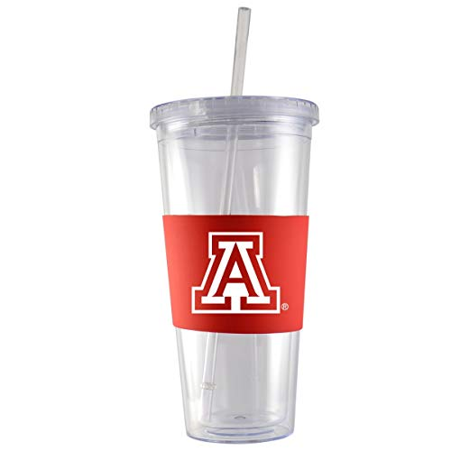 University of Arizona-24 oz. Acrylic Tumbler- Engraved Silicone Sleeve-Red