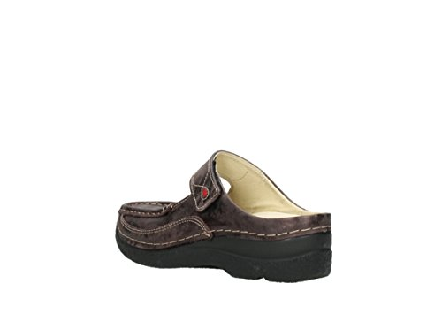 Wolky Dames Muilezels 0622712070 Roll-slipper Black 464.908 10.333 Mokka Metallic Nubuck