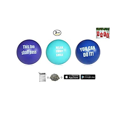 Motivational Stress Ball Assortment Stress Relief Toys for Kids and Adults | Free French Organic Lavender Buds & Happiness Tracker app | Squishy Fidget Gift Toy Balls: Sports & Outdoors