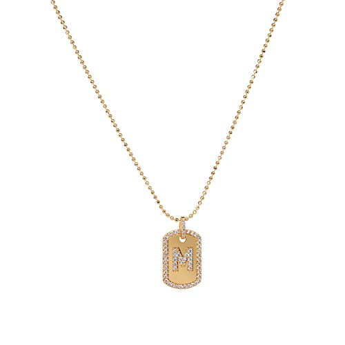 Gold Initial Necklace,Women 14K Gold Plated Military Ball Beads Chain Dog Tag Necklace Handmade Dainty CZ Boys Necklace 17.13
