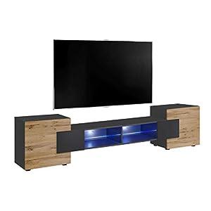 ExtremeFurniture Bridge v2 TV Cabinet, Portes latérales Avant en chêne Mat, Carcasse en Gris Mat + LED Bleues