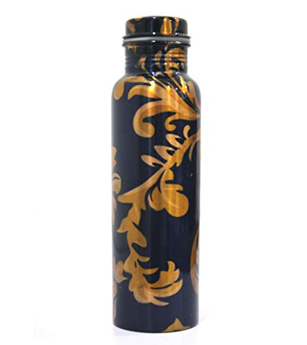 (Collectibles Buy Handmade Pure Copper Water Bottle Vessel Leak Proof Health Benefit Thermos Home & Kitchen Black Print)