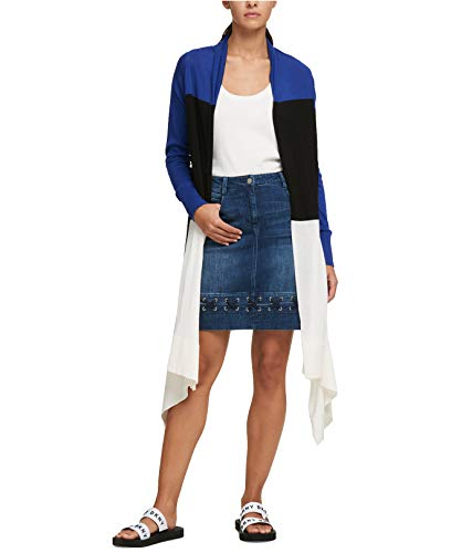 DKNY Women's Colorblocked Draped Open Cardigan (Ink Blue Multi, X-Small/Small) (Ink Multi Blue)