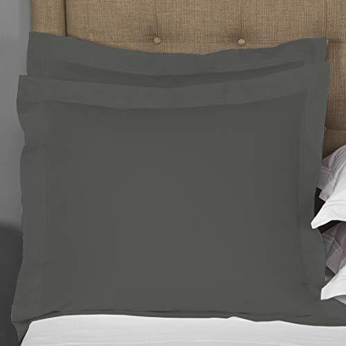 Super Soft 500 TC Pillowcase Dark Gray Solid Pillow Sham Set Of 2 Euro/European 26