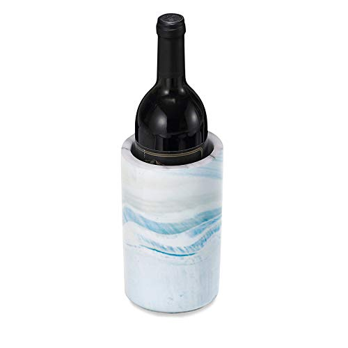 Porcelain Light Blue (Porcelain Wine Bottle Chiller - Decorative Marble Wine Cooler Caddy And Champagne Bucket - 8