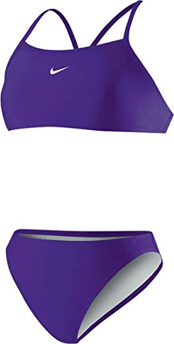 Nike Women's Poly Core Solid Sport Top 2PC Swimsuit (10, Grape Ice)