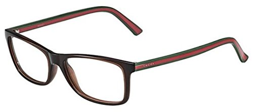 Gucci GG1071 Eyeglasses-05D6 Brown Green Red - Red Glasses Gucci
